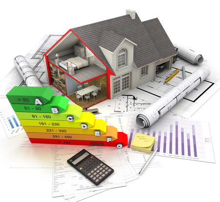 3D rendering of a House exterior with cross section showing home interior, an energy efficiency charts and blueprints