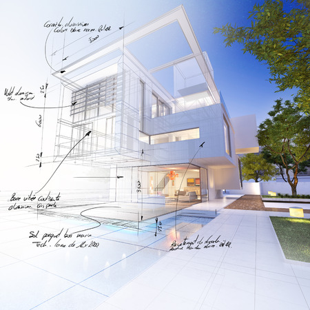 mansion: 3D rendering of a luxurious villa contrasting with a technical draft part