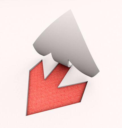 ocas: Representación 3D de una flecha de papel recortado en rojo y blanco