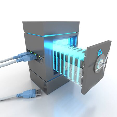 identity protection: 3D rendering of a usb cable connected to a strongbox containing electronic files