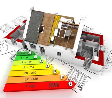 건설, 청사진의 위에 에너지 효율 등급 차트와 집의 3D 렌더링