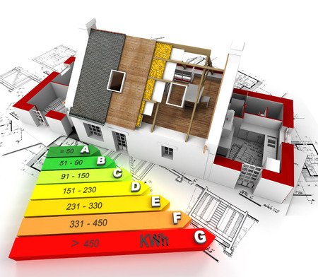 unfinished: 3D rendering of a house in construction, on top of blueprints, with an energy efficiency rating chart