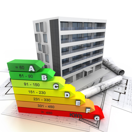 3D rendering of a building in construction with an energy efficiency rating chart 스톡 콘텐츠