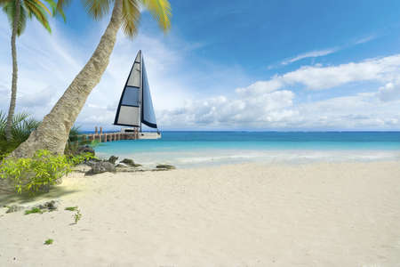 beach holiday: Tropical beach, pier and sailboat with lots of copy space