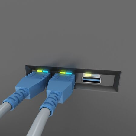 network connection: 3D rendering of USB cables connected to a device