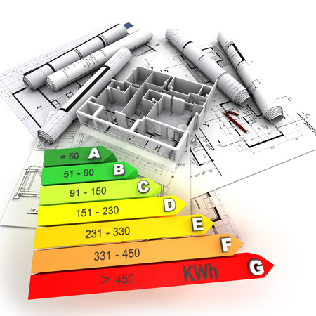 reform: 3D rendering of a building in construction, with an energy efficiency rating chart Stock Photo