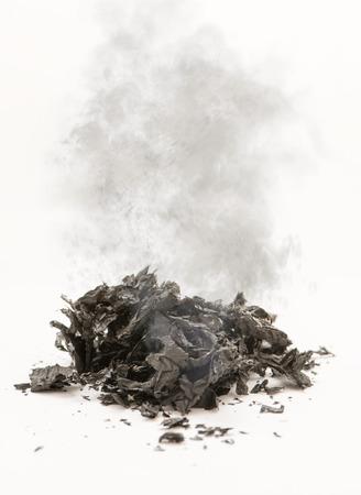 Smoking ashes on a white background