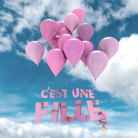 its a girl: 3D rendering of the words Its a girl in French hanging from balloons