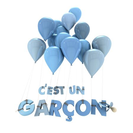 its a boy: 3D rendering of the words Its a boy in French hanging from balloons