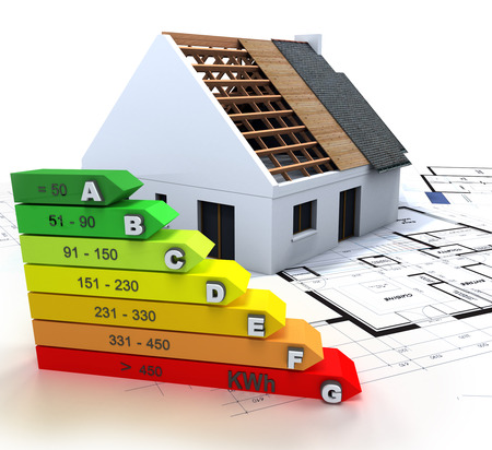 3D rendering of a house in construction, on top of blueprints, with an energy efficiency rating chart
