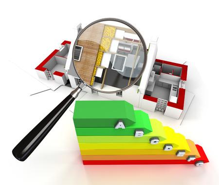 Haus im Bau, mit einem Vergrößerungsglas und einem Energieeffizienz-Chart Standard-Bild - 40671544