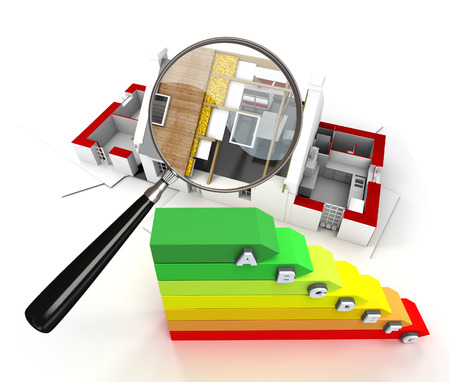 House under construction, with a magnifying glass and an energy efficiency chart