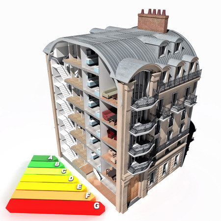 sectioned: 3D rendering of a classic building sectioned and an energy efficiency chart