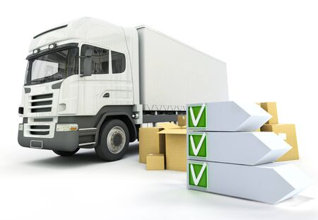 checklist: 3D rendering of an truck transportation theme with a checklist Stock Photo