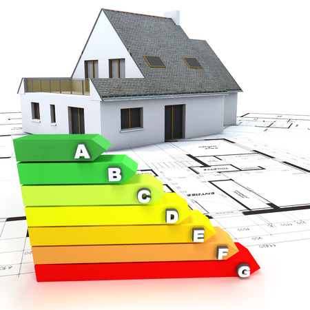 energies: 3D rendering of a house on top of blueprints, with an energy efficiency rating chart