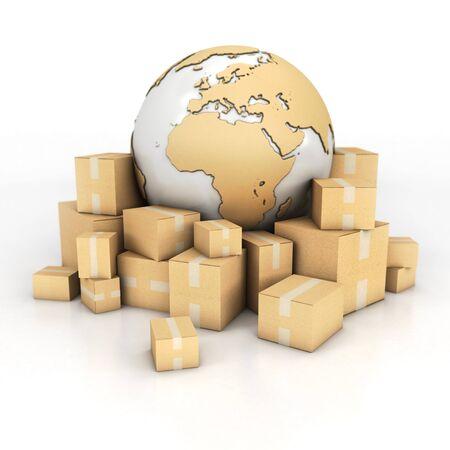 cintas: Representación 3D de la Tierra rodeado de cajas de cartón en la textura Foto de archivo
