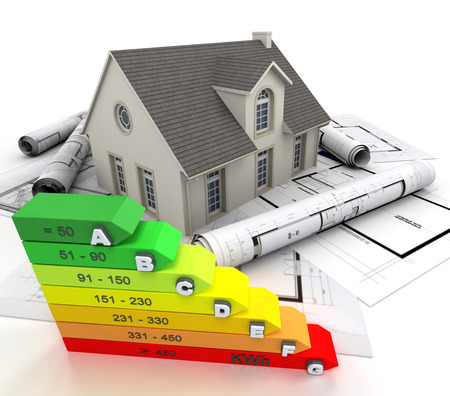 reform: 3D rendering of a house on top of blueprints, with an energy efficiency rating chart
