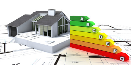plans: 3D rendering of a house on top of blueprints, with an energy efficiency rating chart