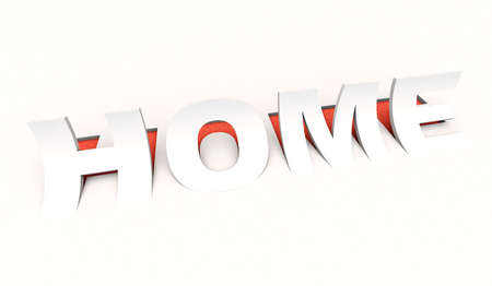 popup: 3D rendering of the cut out  word home in white and red
