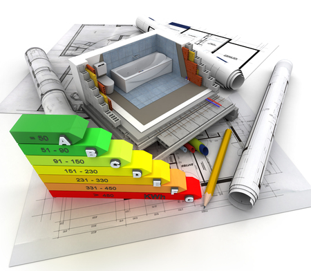 subflooring: 3D rendering of technical details of construction toilet and energy efficiency chart