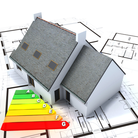 reform: 3D rendering of a house on top of blueprints with an energy efficiency rating chart Stock Photo