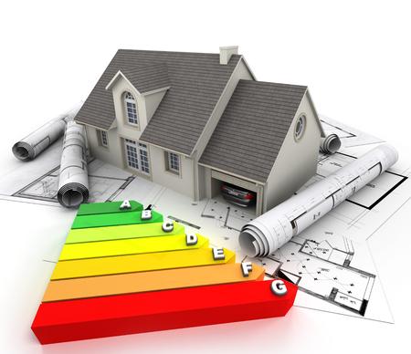 에너지 효율 등급 차트와 청사진의 위에 집의 3D 렌더링,