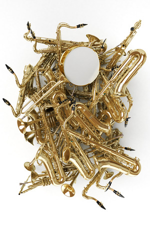 3D rendering of a heap of saxophones and other musical instruments Stock Photo