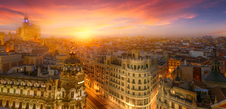 Beautiful view of Madrid downtown at sunset