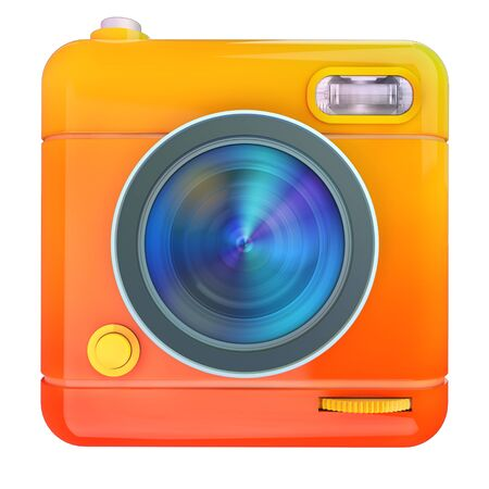 compact camera: 3D rendering of a photo camera icon