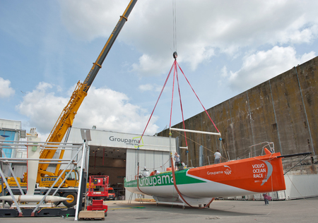 shipbuilder: LORIENT, FRANCE - CIRCA AUGUST 2011. Construction of winner race boat for the Volvo Ocean Race 2011-2012.