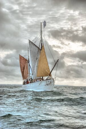 old ship: Traditional Britton sailing ship on a gray day Stock Photo