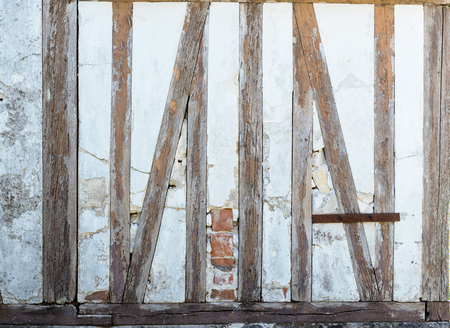 timbering: Half timbering in an old cottage Stock Photo