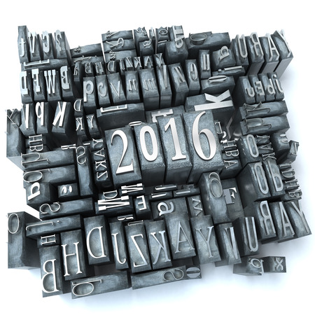 printing inks: 2016 written in typescript letters Stock Photo