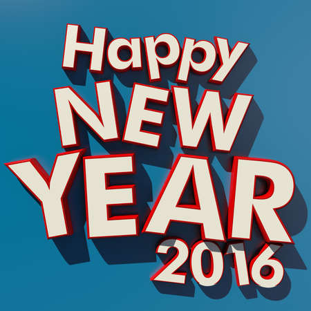 rimmed: 3D rendering of red rimmed white 3D letters on a blue background with the message Happy New Year