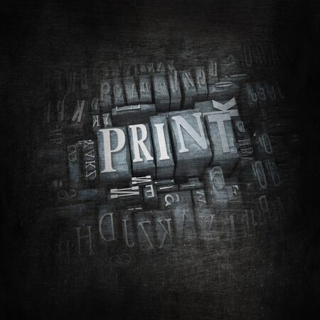 lithograph: 3D rendering of the word print in vintage metallic letter cases Stock Photo