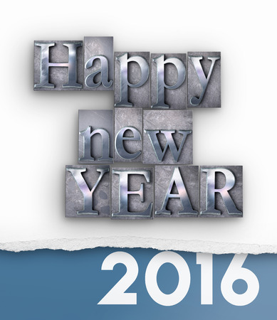 typescript: 3D rendering of the words Happy New Year in  vintage typescript and 2016 written under a torn paper Stock Photo
