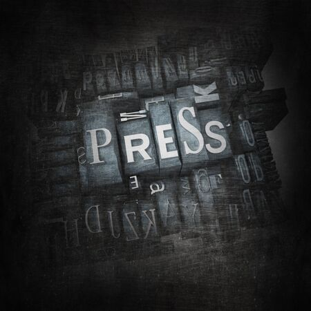 lithograph: 3D rendering of the word press in metallic print letter cases