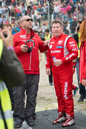 champion spain: MADRID, SPAIN - OCTOBER 3 2015. XXIX European Truck racing Championship, Jarama circuit.Spanish champion, Antonio Albacete