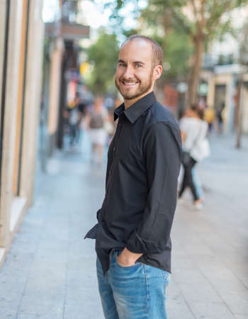 thirties: Portrait of a male in his thirties in Madrid downtown Stock Photo