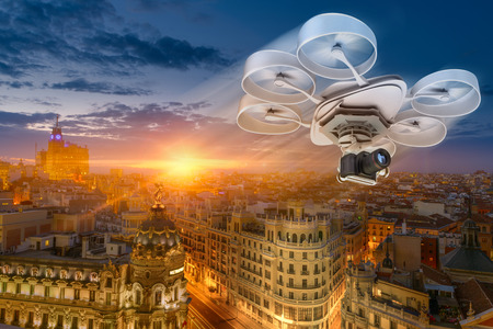 3D rendering of a drone flying Madrid city center Stock Photo