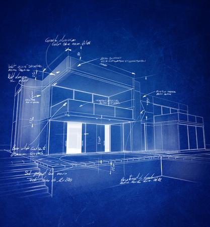dibujo tecnico: arquitectura técnica de dibujo con trazos de color blanco tiza sobre un fondo azul Foto de archivo