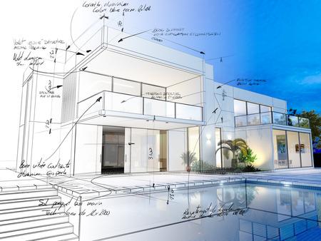 Representación 3D de una villa de lujo en contraste con la representación realista y de armazón y notas