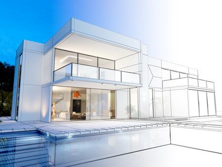 Rendu 3D d'une villa luxuus contrastant avec le rendu et wireframe réaliste Banque d'images - 50969051