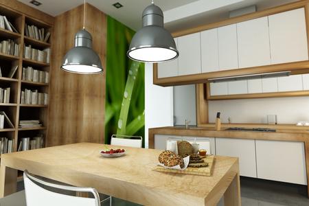open plan: Modern apartment with an open plan kitchen