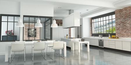 3D rendering di un loft artista con una magnifica cucina integrata