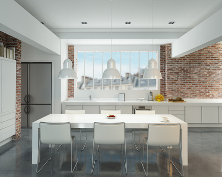 stainless steel kitchen: 3D rendering of a modern industrial style kitchen