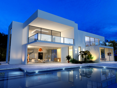 modern lifestyle: luxurious villa with swimming pool at dusk