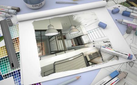 3D-weergave van een schetsboek met een moderne keuken interieur, kleurstalen en markers Stockfoto