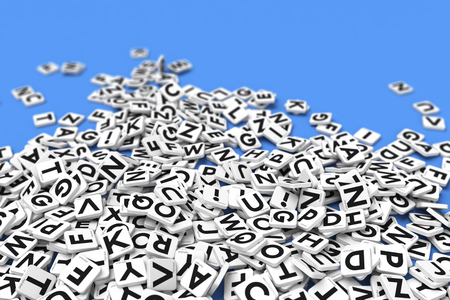 dyslexia: 3D rendering of a background made of letter tiles Stock Photo