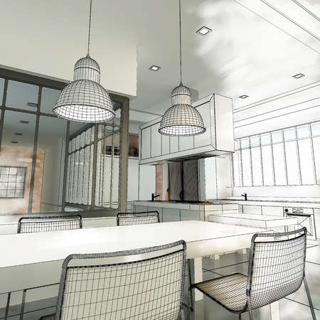 upmarket: 3D rendering of a luxurious industrial style loft showing wireframe Stock Photo